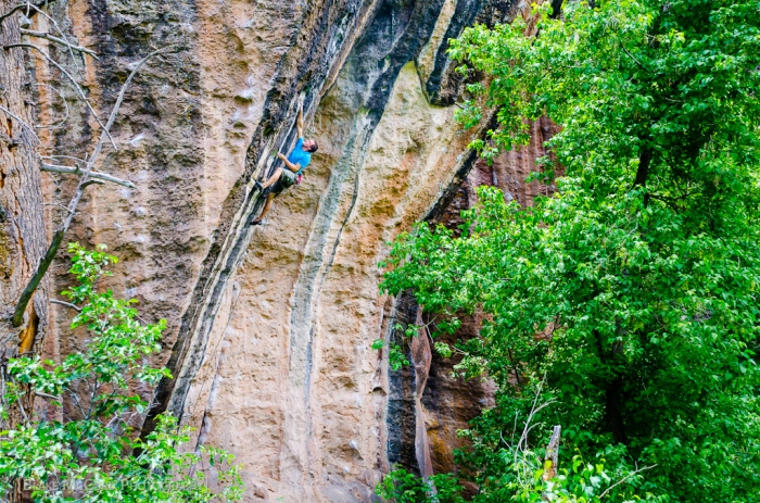 Alex Kirkpatrick sending Buzzcut, Mill Creek Canyon, UT photo Blake McCord