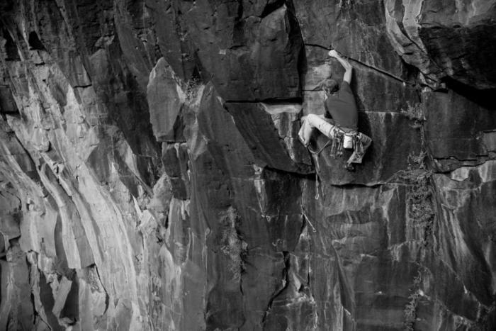 JJ enjoys his route Dark Arts at the Oak Creek Waterfall, AZ photo James Q Martin