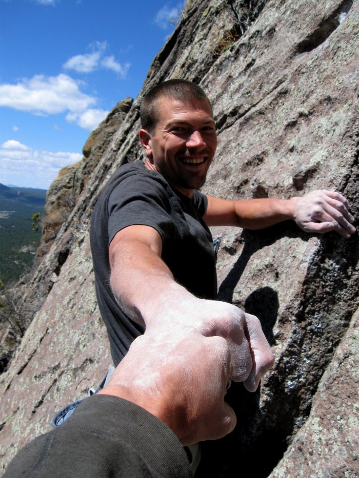 JJ and Wade enjoy another hard-earned first ascent on Mt Elden, AZ.