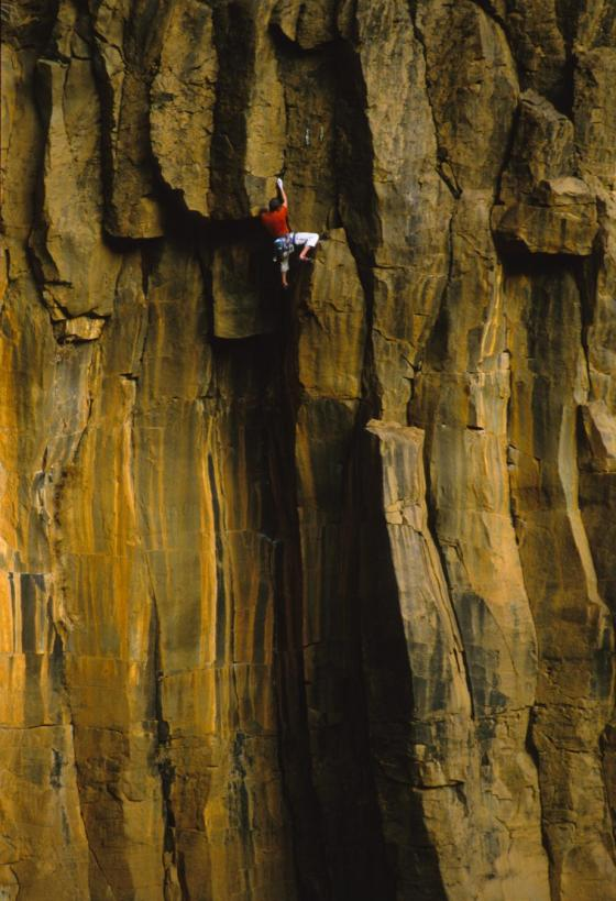 JJ Schlick on the classic Black and Tan, Oak Creek Waterfall, AZ photo James Q Martin