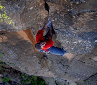 FA of Rapture 5.10 with John Burcham on the attentive belay, Volunteer Canyon, AZ