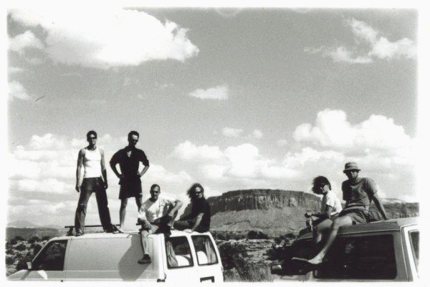 Steve K., James Q Martin, Sam F., Dan Schwarz, Seth Dyer, and JJ Schlick at Indian Creek in the late 90's