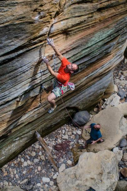 Mat Greco on an early attempt of Uncle Kentucky 5.13a