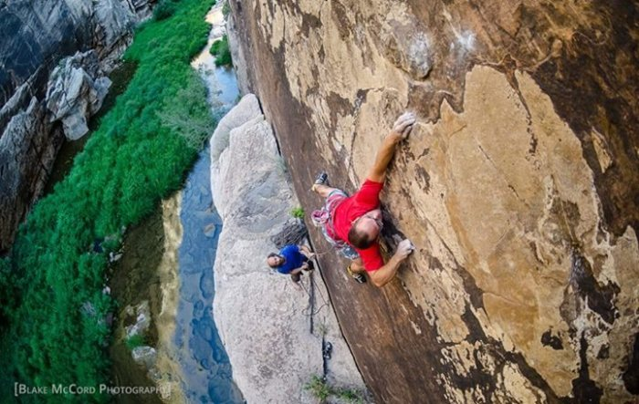 Mat Greco and Dave Bloom work on the FA of Skull Fracture 5.13c