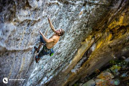 Joel Unema on The Return of Darth Moll, Red River Gorge, KY photo Nathan Welton