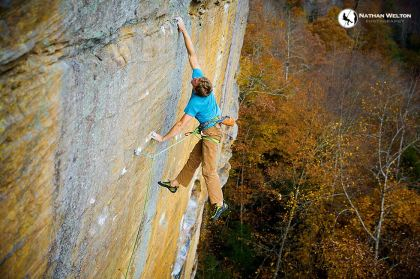 Blake McCord soars in Muir Valley, Red River Gorge, KY photo Nathan Welton