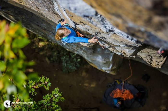 Martha Strain at Torrent Falls, Red River Gorge, KY photo Nathan Welton