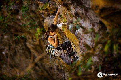 Angie, age 9, climbs Golden Boy, Red River Gorge, KY photo Nathan Welton