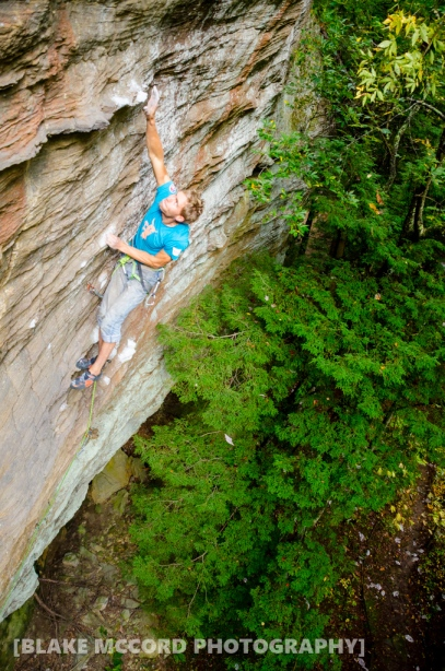 Joel Unema on Racer X at Torrent Falls, Red River Gorge, KY photo Blake McCord
