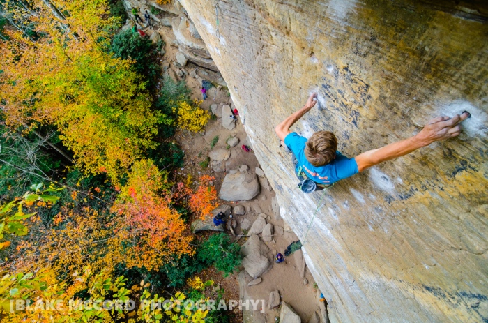 Joel Unema on Jesus Wept, Red River Gorge, KY photo Blake McCord
