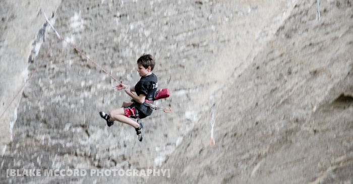 Preston Edwards takes flight on The Castle has Fallen, Red River Gorge, KY photo Blake McCord