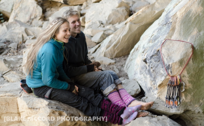 Joel Unema and Rannveig Aamodt share fashion tips at the Red River Gorge, KY photo Blake McCord