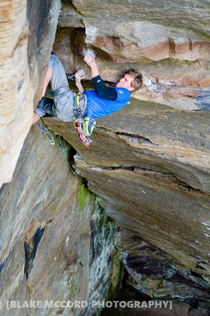 Joel Unema on Charlie, Red River Gorge, KY photo Blake McCord