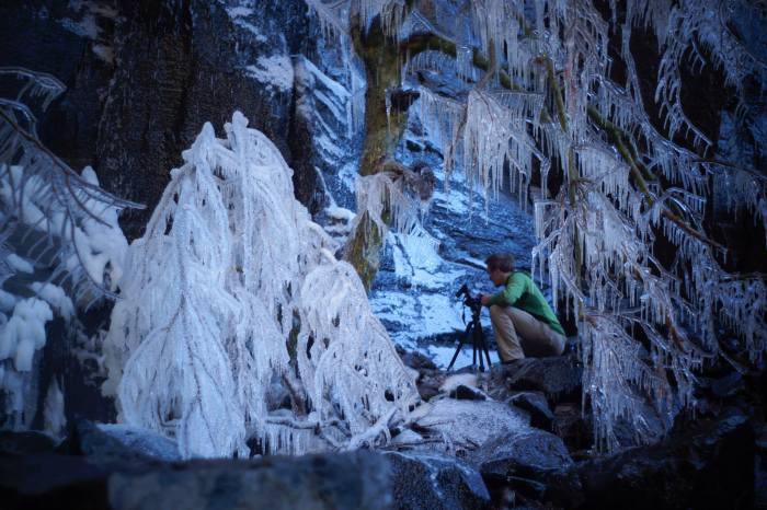 Blake McCord enjoys a icy and beautiful day at the Waterfall.  Photo Wade Forrest