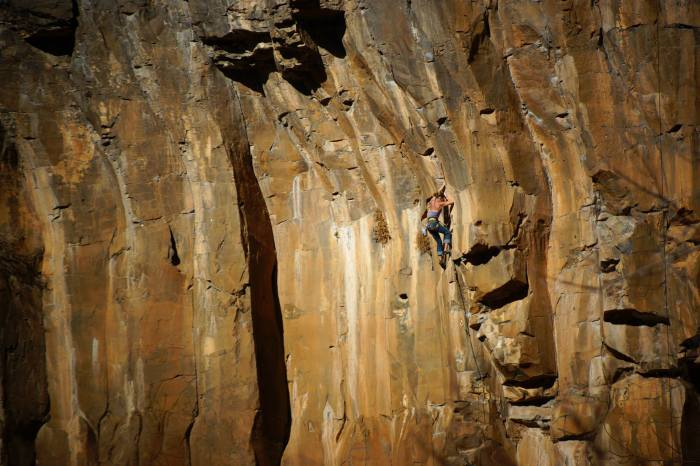 Carrie Albrecht on There Will Be Blood 5.12+, Oak Creek Waterfall, AZ