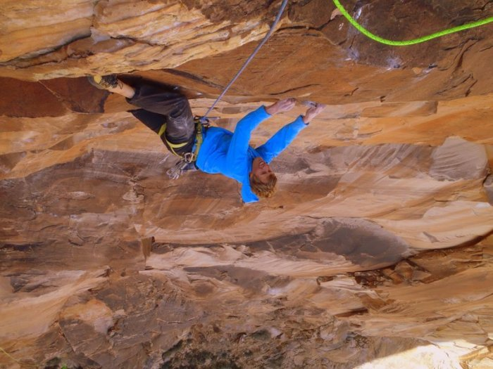 Nik Berry finishes the crux pitch of Crystal Dawn, Red Rocks, NV
