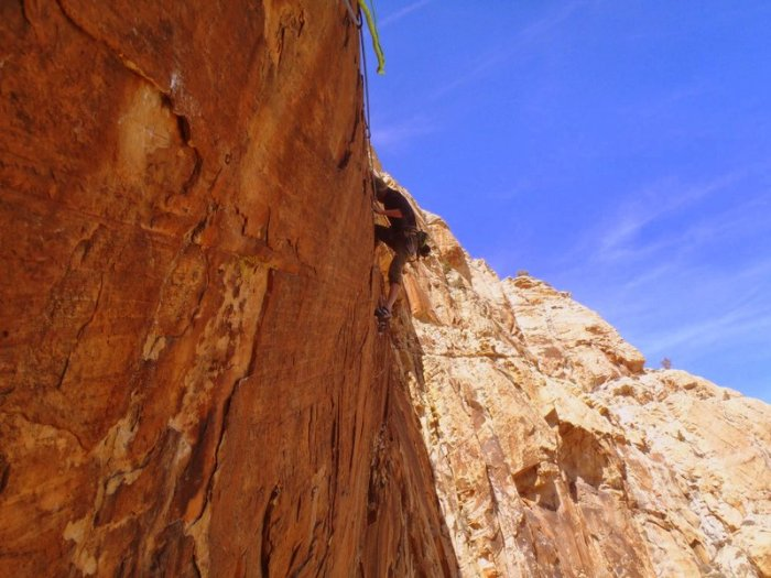 Joel Unema on the post-crux traverse on Crystal Dawn, Red Rocks, NV