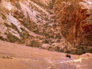 Joel Unema follows the hard slab on Crystal Dawn, Red Rocks, NV