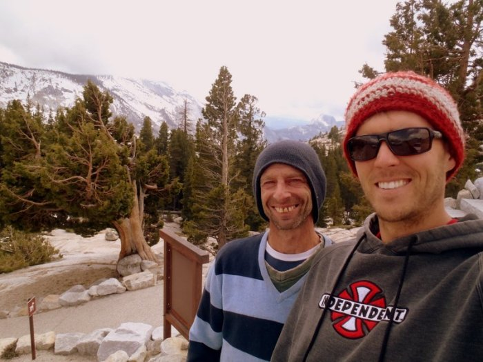 David Bloom and Joel Unema on the drive in to Yosemite National Park.