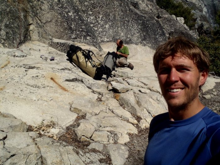Joel Unema and David Bloom going up the East Ledges Descent, El Capitan, Yosemite Valley.
