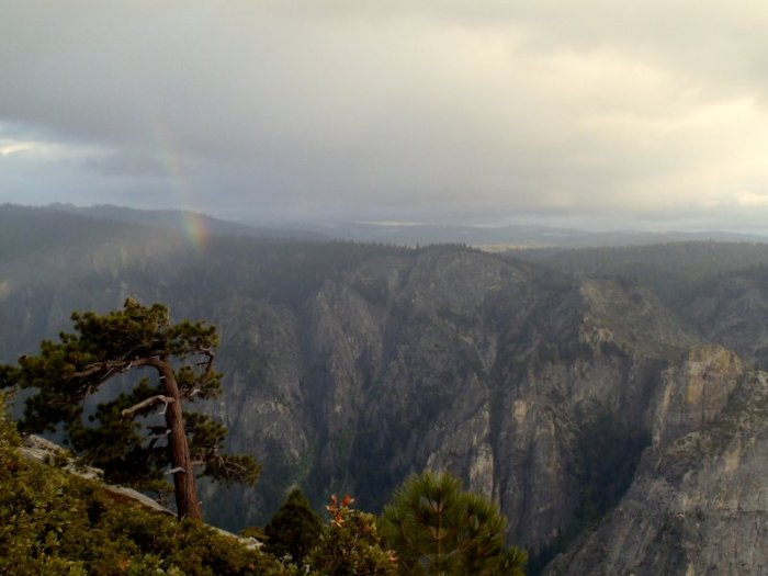 Rainbow over Yosemite Valley from the top of El Capitan.