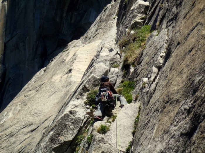 David Bloom climbs moderate terrain to Mammoth Terraces on Golden Gate, Yosemite Valley.
