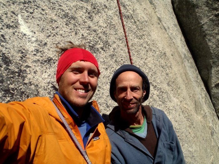 Dave Bloom and Joel Unema, back on the ground  at the base of El Cap.