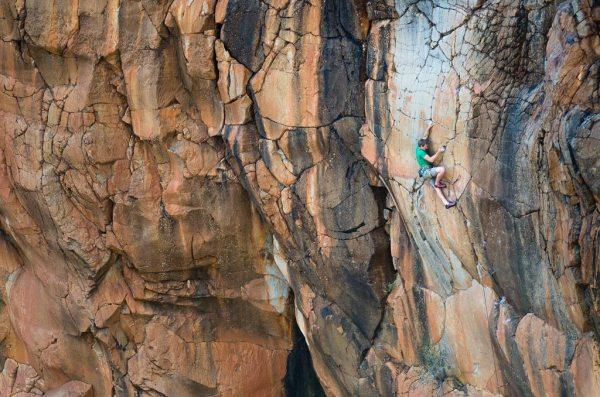 Jeff Snyder on the Kraken, Whitetail Canyon, AZ.  Photo Blake McCord