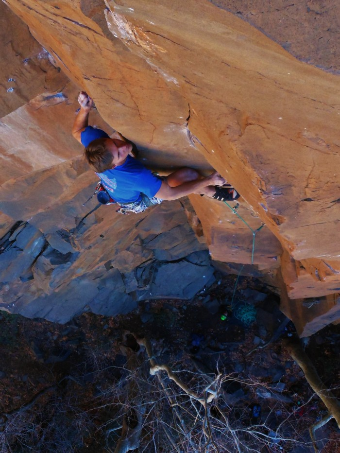 Joel Unema on the FA of East Coast Fist Bump, Oak Creek Waterfall, AZ